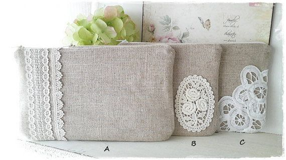 Large bridesmaids linen clutch with lace Zakka style
