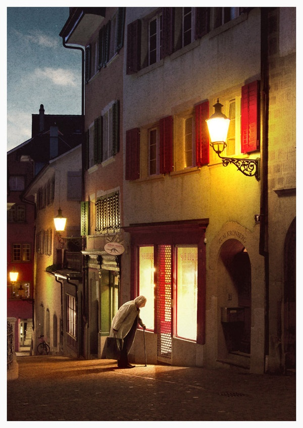 Zurich by twilight, from a series of exposures taken in the narrow side streets of old Zurich.