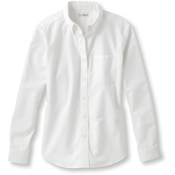 L.L.Bean Easy-Care Washed Oxford Shirt, Long-Sleeve  Misses Petite ($50) ❤ liked on Polyvore featuring tops, white button down top, white long sleeve top, relaxed fit tops, button down top and layered tops