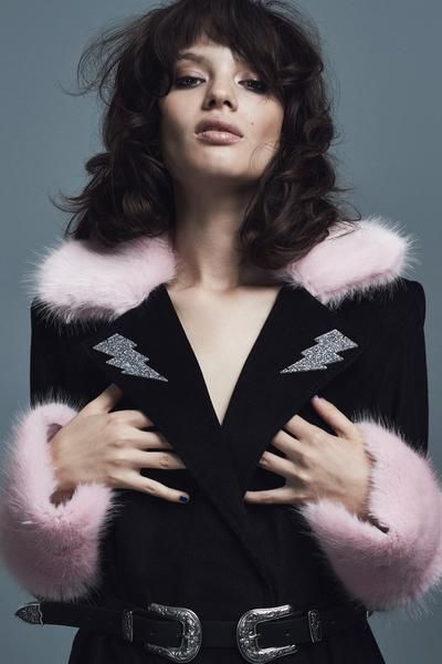 70s inspired glam rock Pink Faux Fur and Black Corduroy Coat