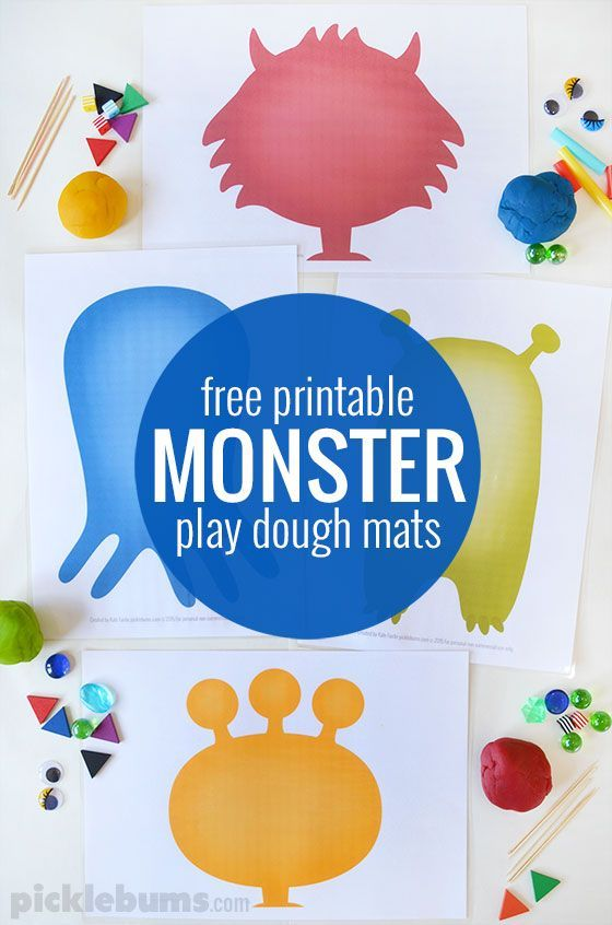 Free printable monster play dough mats. Monster mats, Red, blue, green, orange PDF