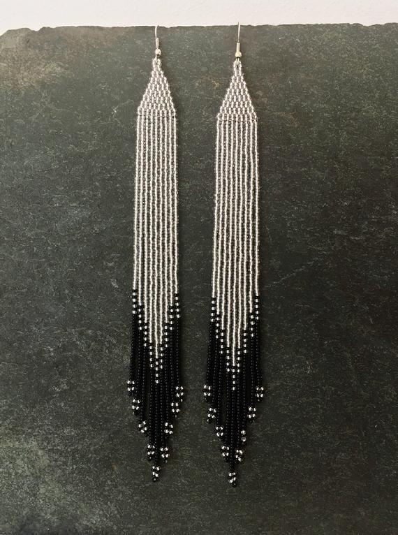 bdf6402ab57fdd Long Ombré beaded earrings, Silver, Black, Native American, Seed ...