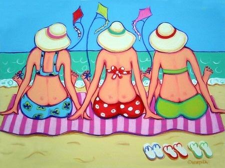 Kite Flying 101 - Funny Women Beach Seashore Kites