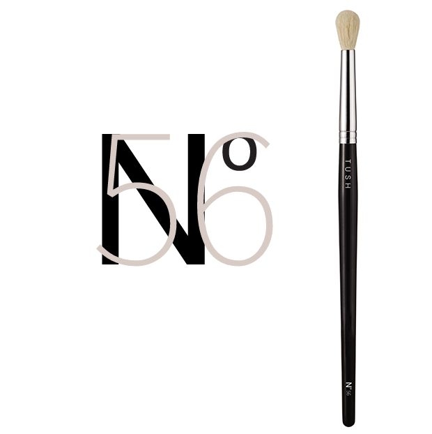 Nr 56 Tapered Eye Blending Brush. With it's rounded and tapered top made of fine natural hair, this brush is perfect for shading and blending powder or creamy products. It's medium size applies an all over shadow with a diffused and blended finish. Available at www.tushbrushes.com