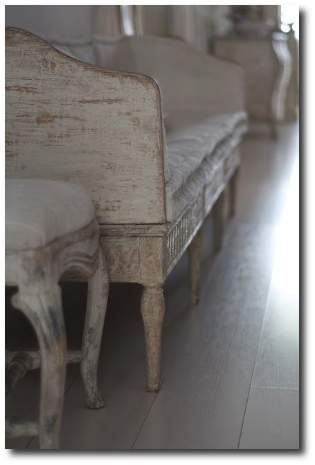Swedish Sofa- Keywords:Gustavian, Gustavian Furniture, Distressed Furniture, Country French Furniture, Shabby Chic Furniture, Scandinavian Design, Nordic Style, Swedish Furniture, Swedish Decorating, Mora Clocks