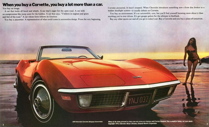Tray has a crush on a cute boy in her class, Rodney, who longs to own a Corvette. She's in the car with him and his dad when they see a 1970 Corvette pass by. This vintage ad is actually for a 1970 Corvette!