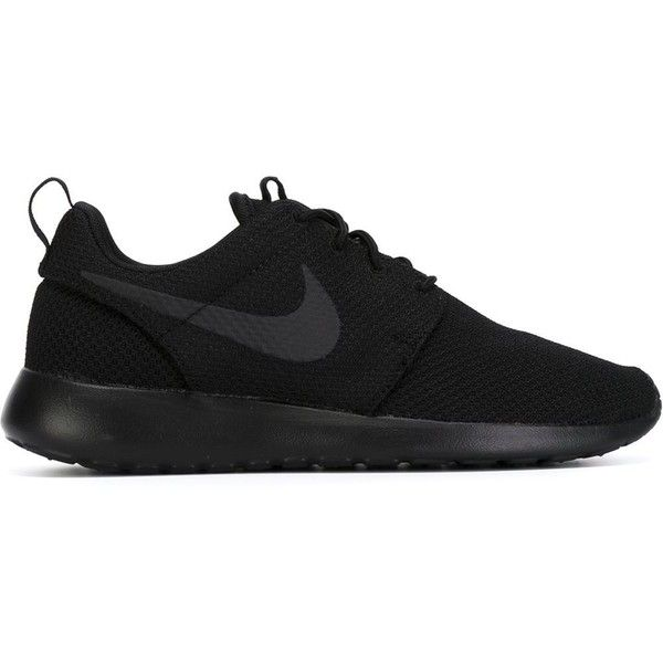 Nike Roshe 1 Sneakers ($89) ❤ liked on Polyvore featuring shoes, sneakers, nike, black, flat sneakers, nike trainers, lace up sneakers, nike footwear and black shoes