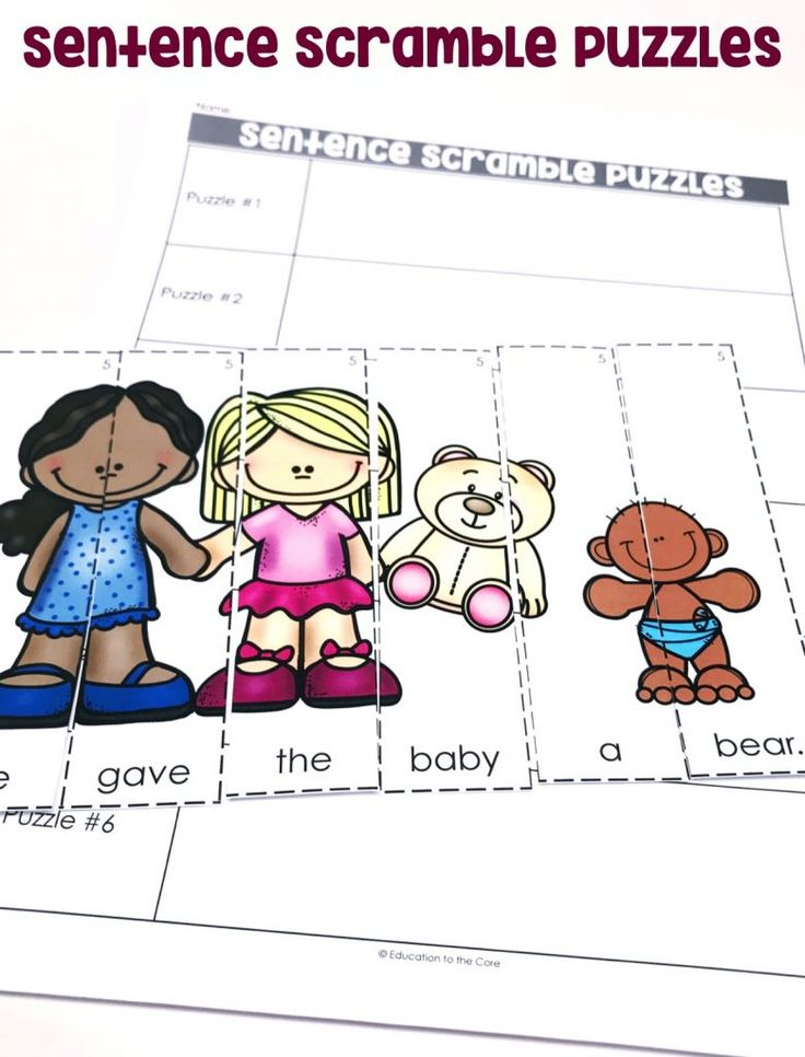 Sentence Scramble Puzzles: Students will produce sentences by rearranging the picture puzzles.