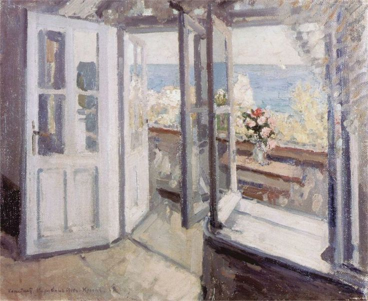 Konstantin Korovin (Russian 1861–1939) [Impressionism, Art Nouveau] Balcony in the Crimea, 1910.