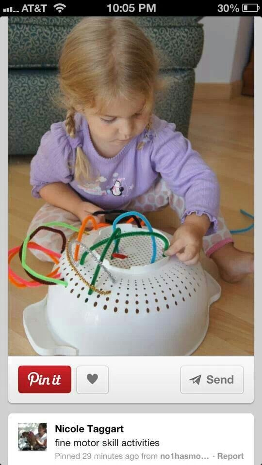 Fine motor activity for toddlers... pipe cleaners, brilliant!