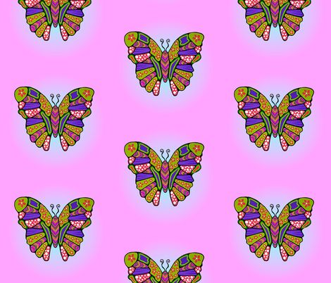 Big Flower Butterflies fabric by quirkyhappyart on Spoonflower - custom fabric