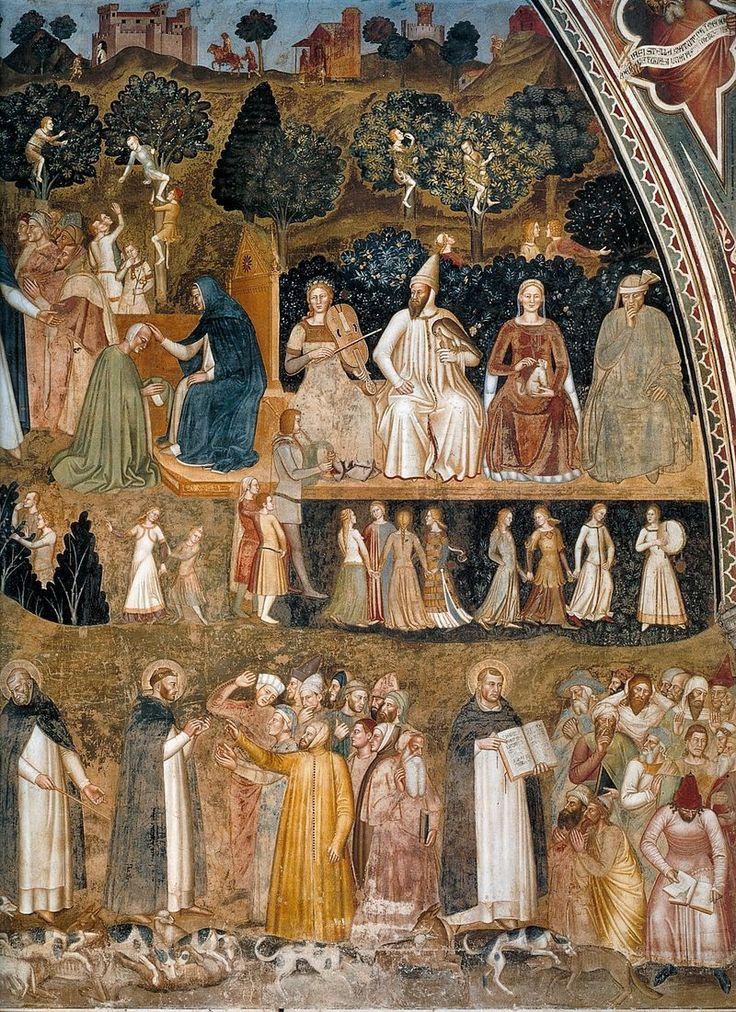 Andrea di Bonaiuto. Santa Maria Novella 1366-7 fresco 0011 - Андреа Бонайути — Википедия. Триумф церкви, правая часть.