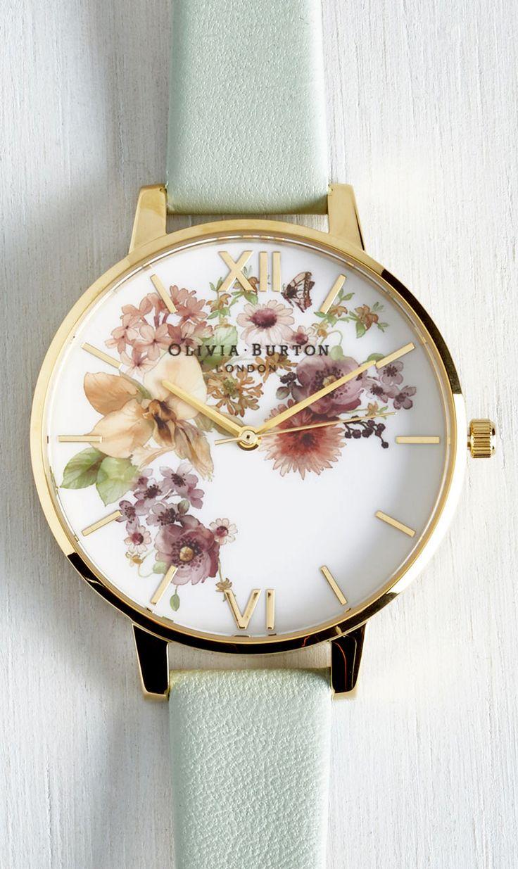 Mint floral watch