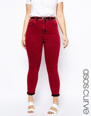 Imagen 1 de Vaqueros de talle alto en rojo lavado ácido exclusivos de ASOS CURVE