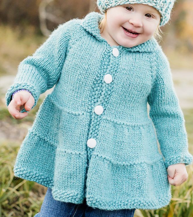 Knitting Pattern for Tiered Baby Coat and Jacket - Easy quick baby and toddler coat or jacket is knit from the top-down with minimal finishing and the sleeve knit in the round. Rated easy by the designer and most of Ravelrers. Sizes 0-3 months (3-6 months, 6-12 months, 12-18 months, 2/3T, 3/4T) Quick knit in bulky yarn. Designed by Lisa Chemery Pictured project by iqeverything