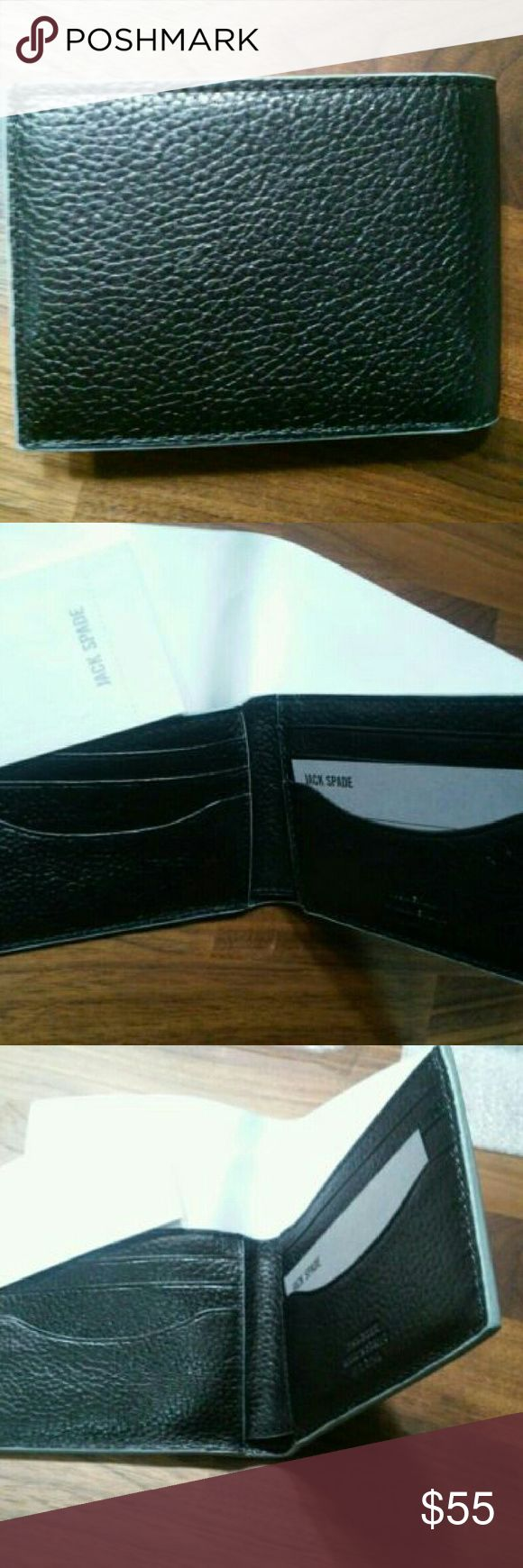 Jack Spade Mason Leather Bifold Wallet New with tags mason leather wallet. Black with grey edging around wallet. Jack Spade Bags Wallets