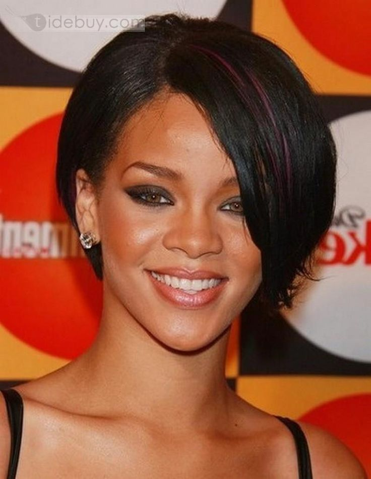 tapered haircut for black women with front long bang | Custom Super Star Rihanna Hairstyles Short Straight 8 Inches Black ... #shortbobblackhairstyles