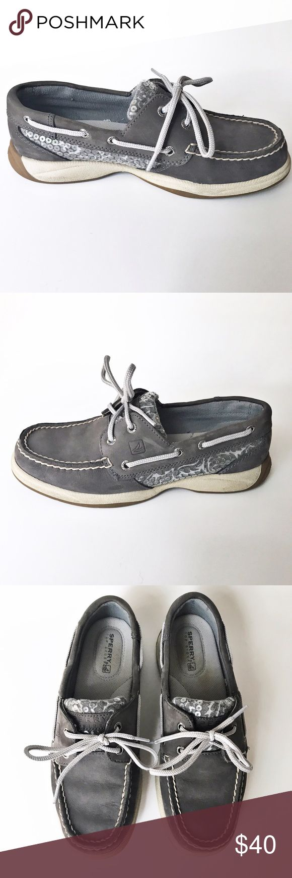 Sperry Top-Sider Gray Suede Leather Boat Shoes Excellent Condition Sperry Top-Sider Gray Suede and sequin boat shoes. Worn once! Super comfortable. Bundle & Save! Sperry Top-Sider Shoes Flats & Loafers
