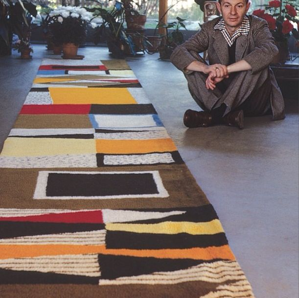 Girard Sitting Beside Custom Rug for the Rieveschl Home, Grosse Point, Michigan, 1951