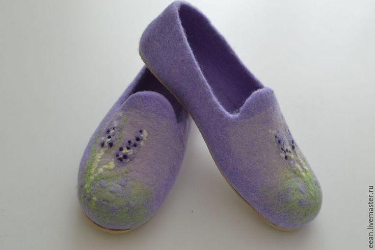 """♡ Купить Валяные тапочки """"Лаванда"""" - сиреневый, домашние тапочки, лавандовый цвет, теплые тапочки"""