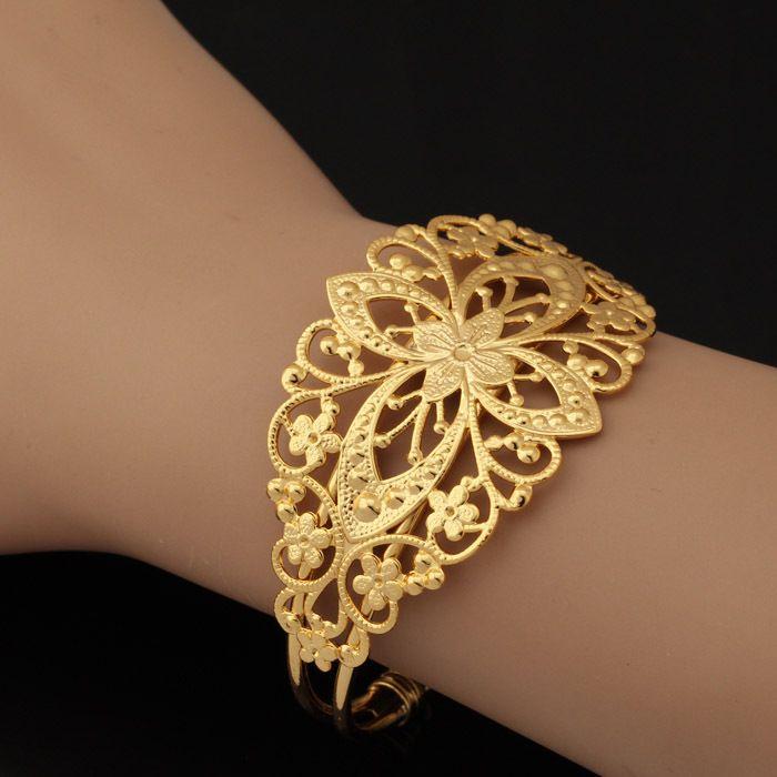 Винтаж цветы 18 К настоящее желтый позолоченные браслеты высокое качество браслеты подарок для женщин H5156, принадлежащий категории Браслеты на запястье и относящийся к Ювелирные изделия на сайте AliExpress.com   Alibaba Group