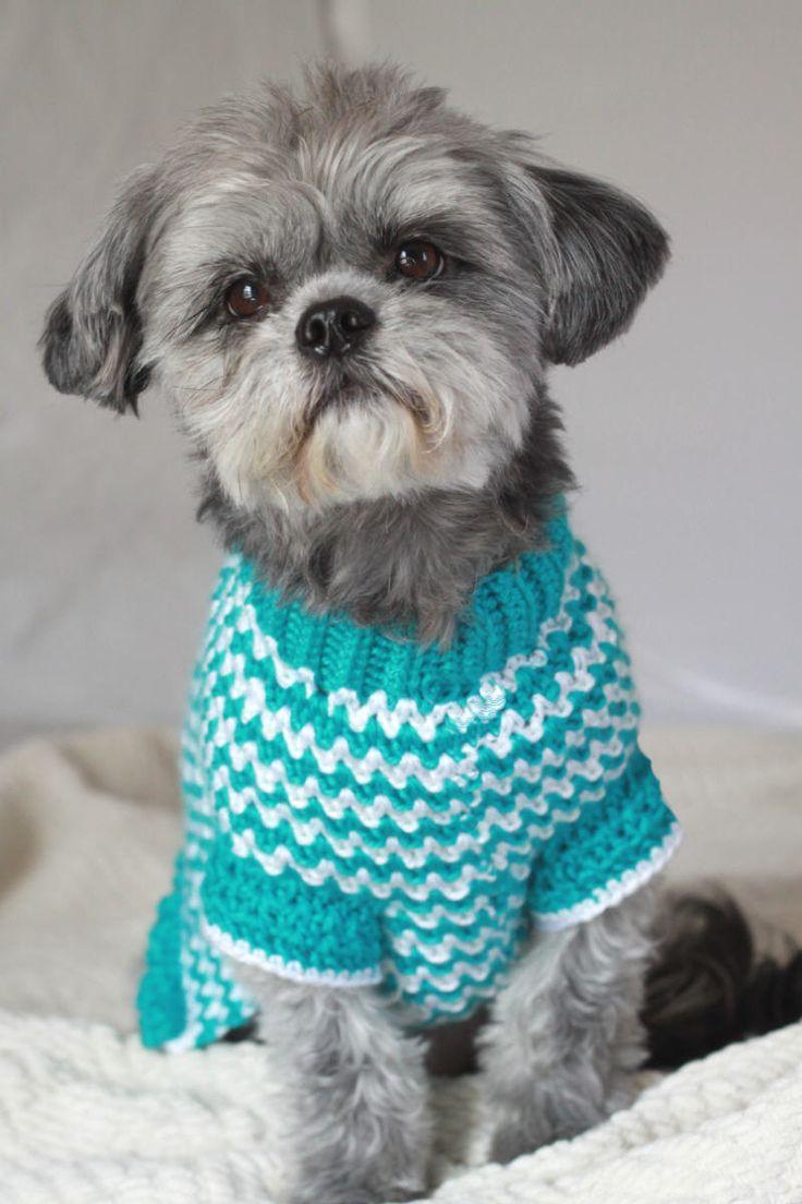 Small Dog Sweater - Chevron Dog Sweater - Shih Tzu - Maltese - Poodle - Boston Terrier - Crochet - by FashionPup on Etsy