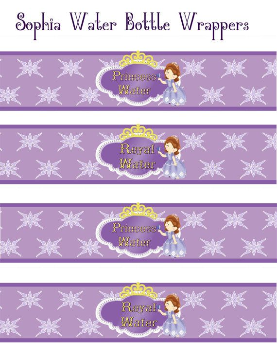 Sophia The First Birthday water bottle Wrappers Instant Download! Printable JPEG 300 dpi Printable DIY purple Princess Party Disney on Etsy, $4.00