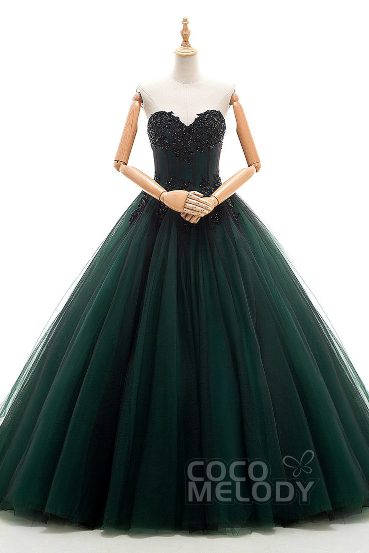 Unique A-Line Sweetheart Natural Chapel Train Tulle Emerald Green Sleeveless Lace Up-Corset Wedding Dress Appliques Beading JWLT16002 #weddingdresses #colorwedding  #cocomelody