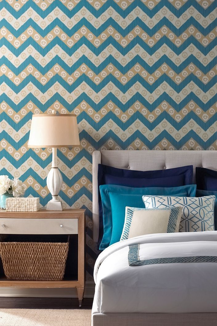 Isabelle de Borchgrave wallcovering for Fabricut. Featured wallcovering: 50034w Chevron in color Ocean 05.