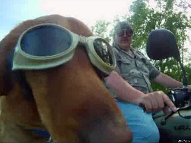 """Jim Larson and his golden retriever """"Cooper"""" turned heads when they rode around town on their motorbike"""