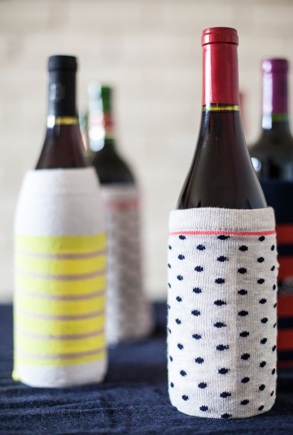 Wine gifts wrapped in tights and socks!