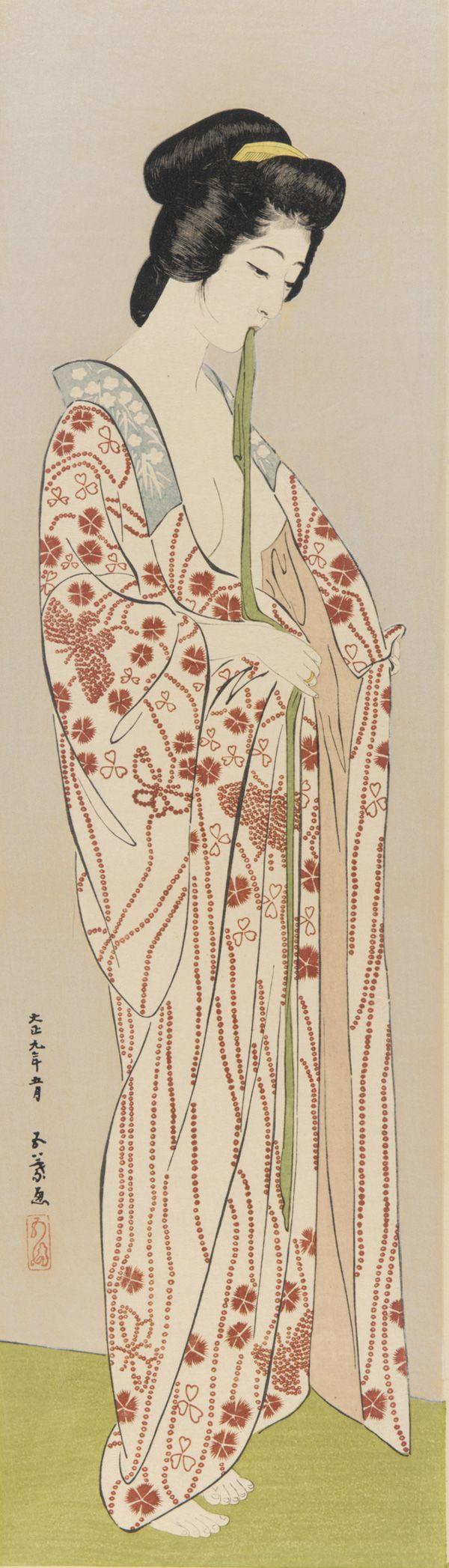 Woman putting on an undergarment  By Hashiguchi Goyo , (Japanese, 1880-1921)  Taisho era
