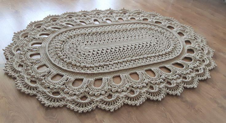 Dywan dziergany ręcznie ze sznurka bawełnianego