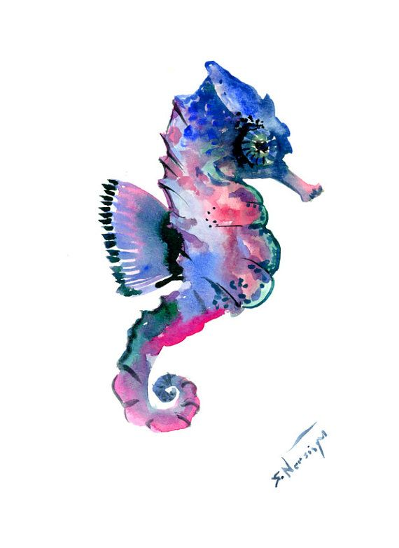Seahorse Wall decor, seahorse art, one of  a kind original watercolor painting, seahorse art