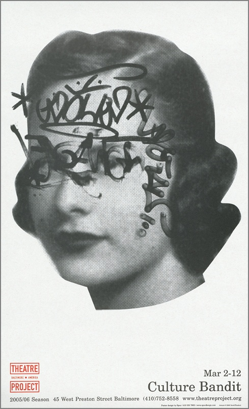 Perhaps taking suitable vintage photos and strategically defacing them with the title across the eyes or mouth and adding antlers or a guitar or earmuffs.