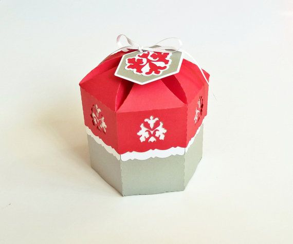 paper box with lid hexagonal 4x4.5 inch by RubiaCraft on Etsy