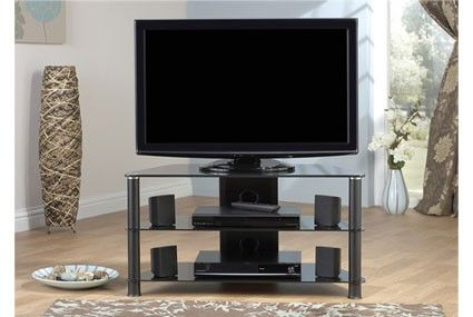 """Jual Furnishings JF004 All Black Glass TV Stand 37"""" to 42"""" .      Suits 37"""" to 42"""" LCD/Plasma TV     Carries up to 85kg     10mm Toughened Safety Glass shelf     3 Shelves     Shelf pitch 205mm, 210mm     6mm Lower Shelves     Cable Management Facility     Black Glass     All of our black glass TV stands are compatible with most popular brands of television  Dimensions: 950mm (w) x 400mm (d) x 500 (h) mm.   BRJF004."""