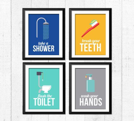 retro bathroom art prints bathroom rules art prints take a shower wash your hands flush the toiletbrush flush wash home decor a4004 pinterest