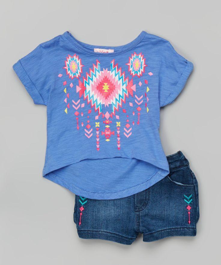 Periwinkle Geometric Tee & Denim Shorts - Toddler & Girls