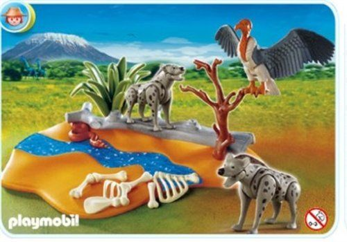 Playmobil Hyenas by Playmobil. $23.99. 9.8 x 7.9 x 3 inches. The Playmobil Hyenas includes a river course for the two Hyenas to drink from, a vulture circling overhead and a collection of animal bones.