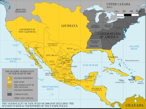 mapsontheweb:  The Viceroyalty of New Spain in 1800