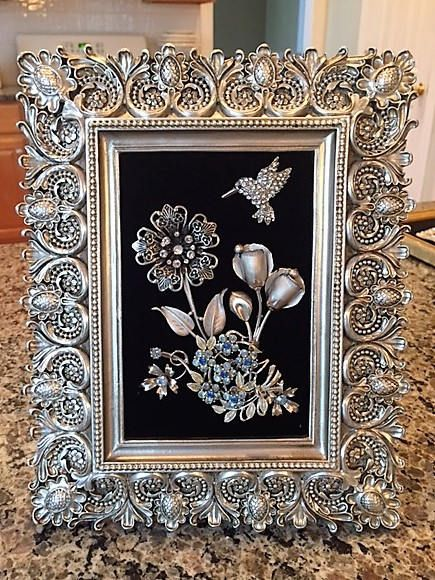 Vintage & Costume Jewelry Framed Elegant Flower Art