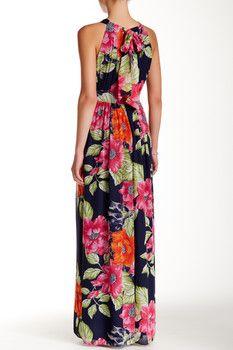 Eliza J Halter Chiffon Floral Maxi
