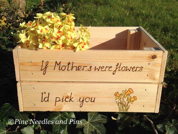 Mothers Day gift Gardening box garden crate by PineNeedlesandPins