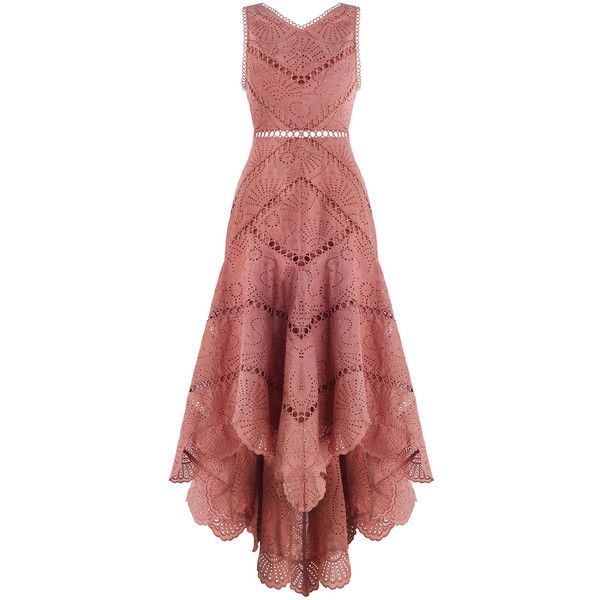 ZIMMERMANN Jasper Fan Dress ($695) ❤ liked on Polyvore featuring dresses, red dress, circle dress, mid calf dresses, red midi dress and embroidered summer dress