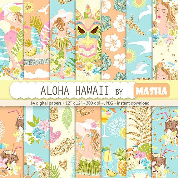 Summer digital paper: ALOHA HAWAII with hawaii #hawaii #digital #paper #tropical #pattern #aloha #holiday #coconut #cocktails #surf #board #girl #illustration #floral #exotic #flower #graphics #background #planner #cover #supplies #blue #glitter #orange #tiki #mask #summer #time #etsy #masha #studio #mashastudio