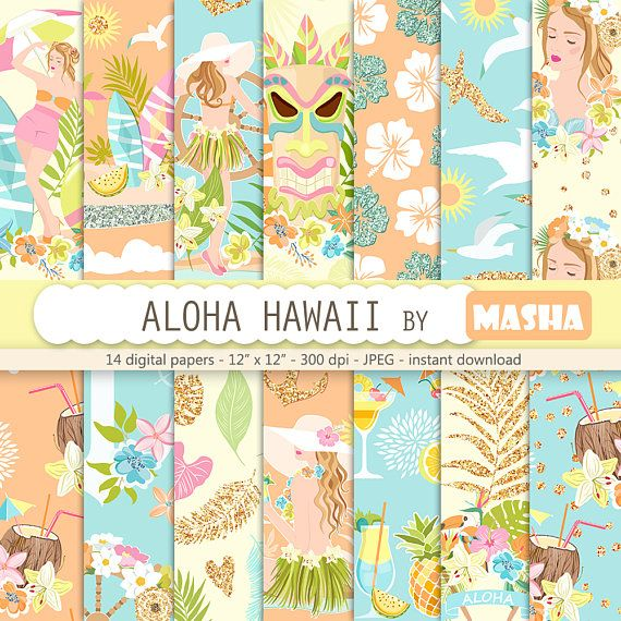 Summer digital paper: ALOHA HAWAII with hawaii #hawaii #digital #paper #tropical #pattern #aloha #holiday #coconut #cocktails #surf #board #girl #illustration #floral #exotic #flower #graphics #background #planner #cover #supplies #blue #glitter #orange #tiki #mask #summer #time #etsy #masha #studio #mashastudio