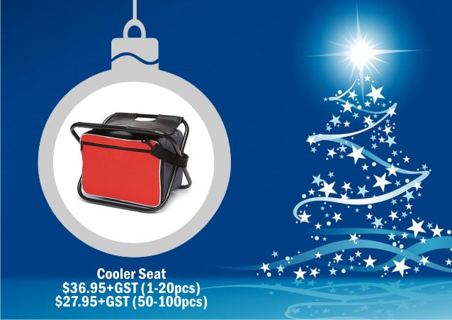 Cooler Bag Seat  The cooler bag seat makes a great corporate gift. Available in Red and royal Blue. These can be screen-printed or embroidered with your message or corporate logo. For corporate gift ideas talk to Wizid Promotions by calling 1300 4 WIZID.