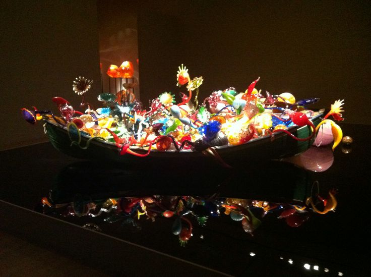 Chihuly glass in a large rowboat at OKC Art Museum