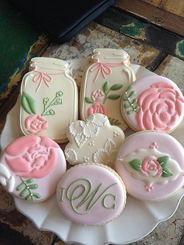 Vintage Mason jar cookies~ by bambellacookies, via Flickr, pink, rose, embroidery, round #cookies
